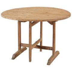 19th Century French Pine Oak Wine Tasting Tilt-Top Dining Table