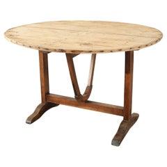 19th Century French Pine Wine Tasting Tilt-Top Table