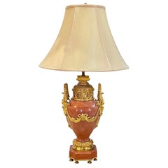 19th Century French Pink Marble and Dore Bronze Lamp