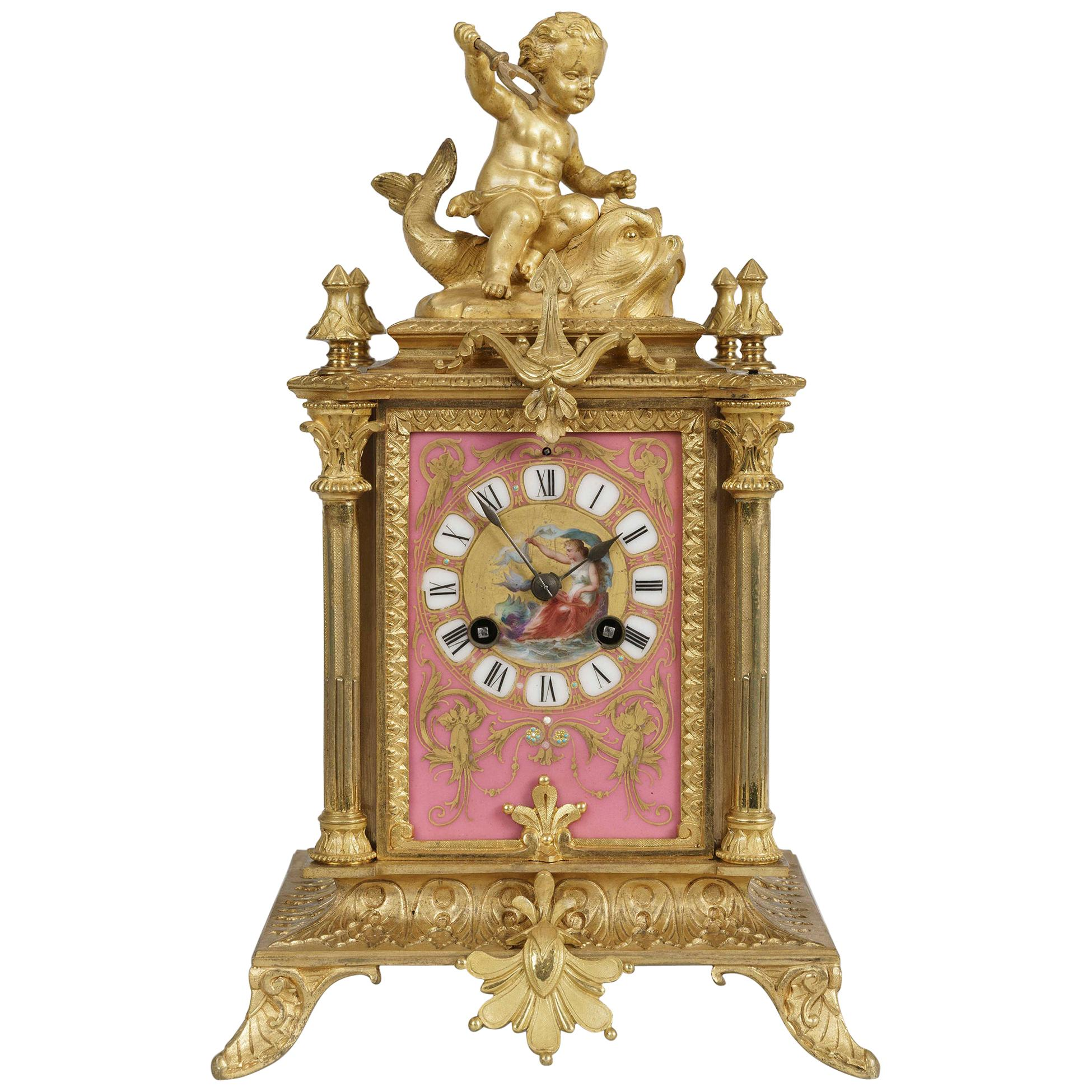 19th Century French Pink Porcelain Clock by Japy Fréres in the Louis XVI Manner