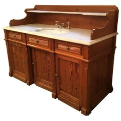 19th Century French Pitch Pine Cupboard Sink with Marble Top, 1890s