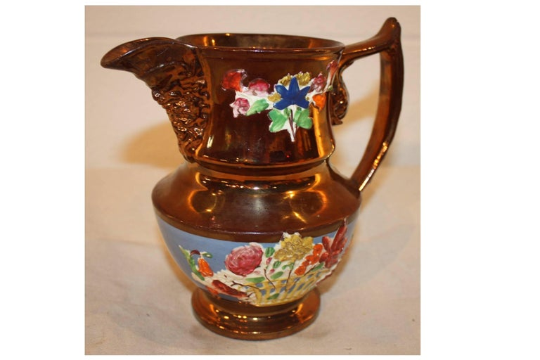 Enameled 19th Century French Pitcher For Sale