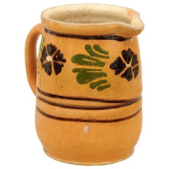 19th Century French Pitcher with Yellow, Brown and Green Glaze and Pansies