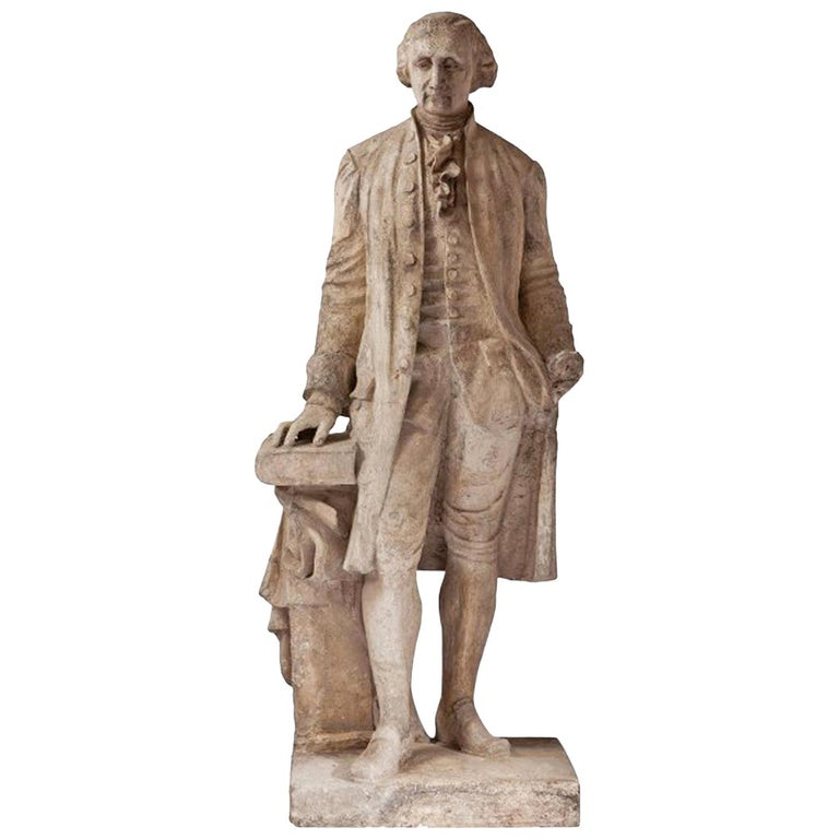 19th Century French Plaster Statue of George Washington, Antique French Decor For Sale
