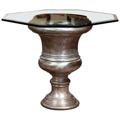 19th Century French Polished Cast Iron Urn Shape Table with Octagonal Glass Top