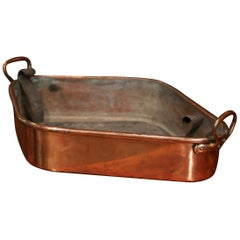19th Century French Polished Copper and Brass Fish Kettle Dish with Zinc Liner