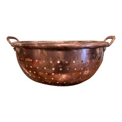 19th Century French Polished Copper Colander Dish from Normandy