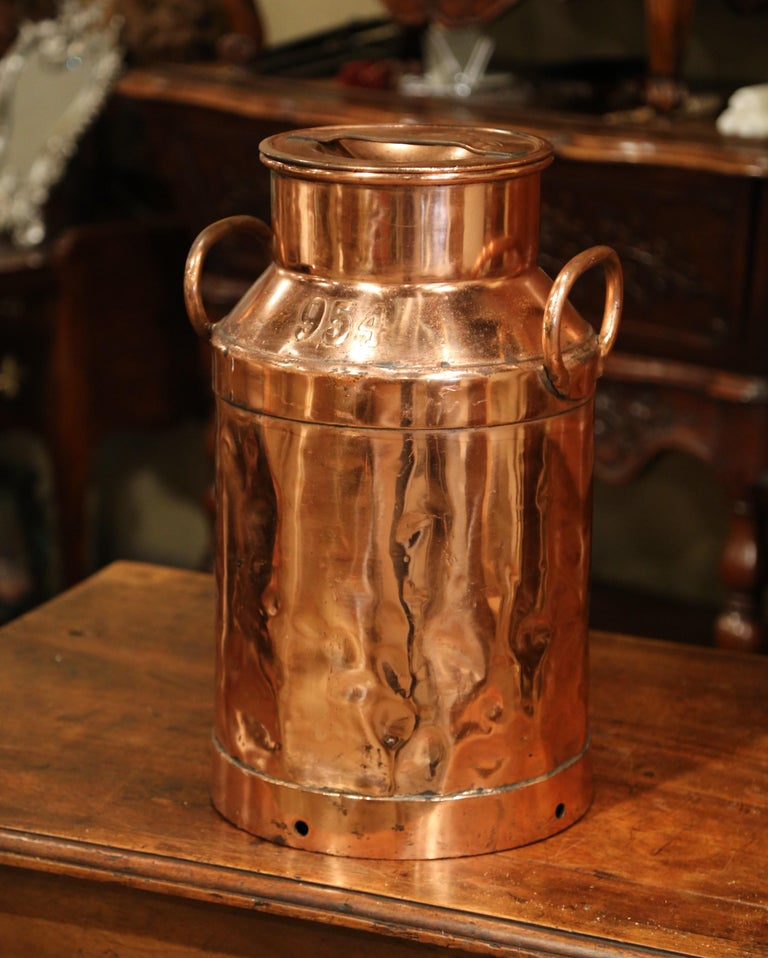 19th Century French Polished Copper Plated Milk Container ...