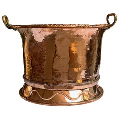 19th Century French Polished Hammered Copper Planter Jardinière Cachepot Round