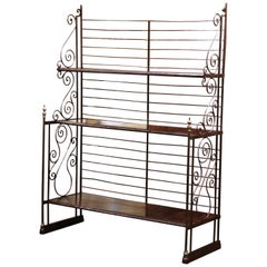 19th Century French Polished Iron and Brass Baker's Rack with Metal Shelves