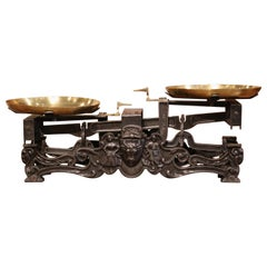 19th Century French Polished Iron and Brass Scale with Cow and Ram Decor