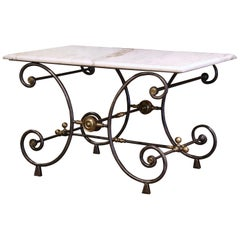 19th Century French Polished Iron and Bronze Pastry Table with Marble Top