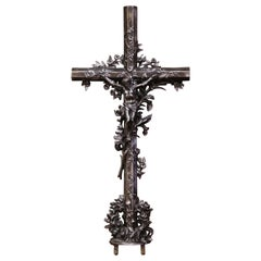 19th Century French Polished Iron Garden Crucifix Cross with Floral Motifs
