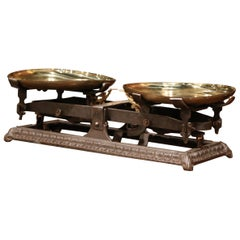 19th Century French Polished Iron Scale with Brass Trays from Lyon
