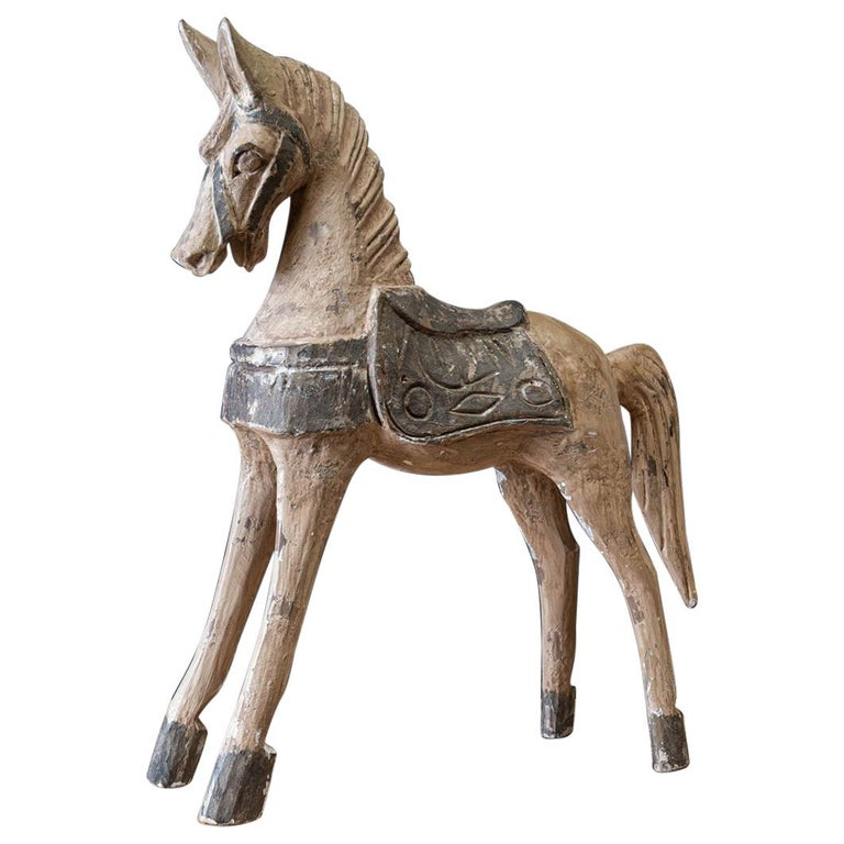 19th Century French Polychrome Carved Horse Sculpture For Sale