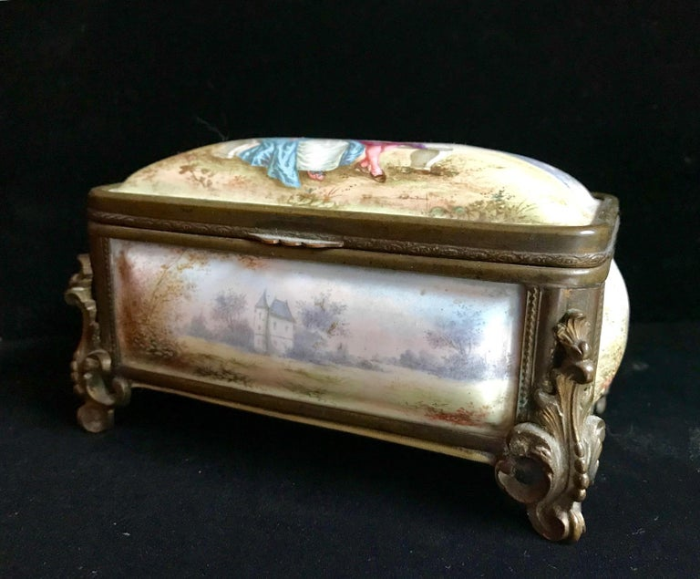 19th Century French Polychrome Enamel and Bronze Jewelry Box Casket For Sale 8