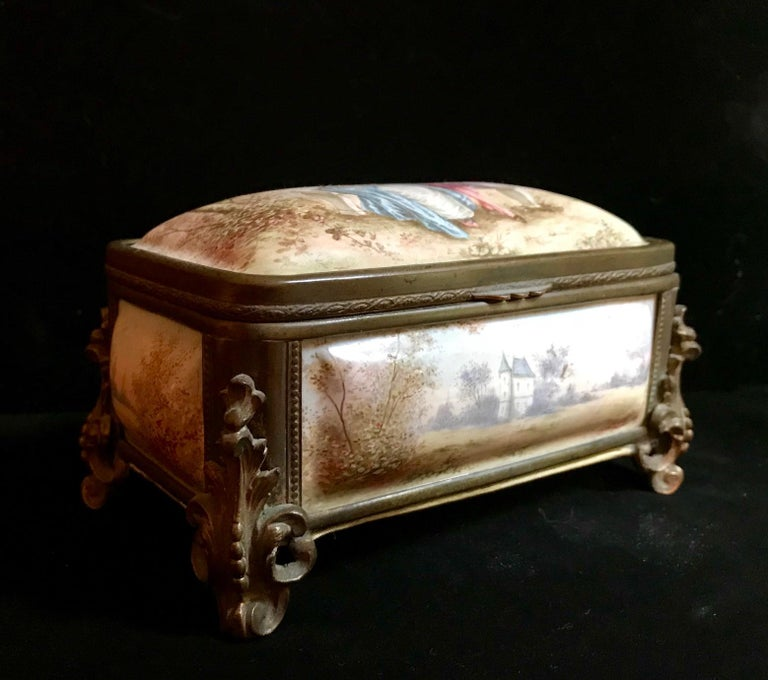 19th Century French Polychrome Enamel and Bronze Jewelry Box Casket For Sale 9