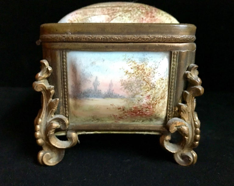 19th Century French Polychrome Enamel and Bronze Jewelry Box Casket For Sale 1