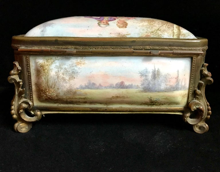 19th Century French Polychrome Enamel and Bronze Jewelry Box Casket For Sale 3