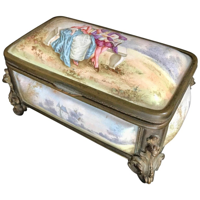 19th Century French Polychrome Enamel and Bronze Jewelry Box Casket For Sale