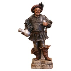 19th Century French Polychrome Terracotta Musketeer Beer Drinker Figurine