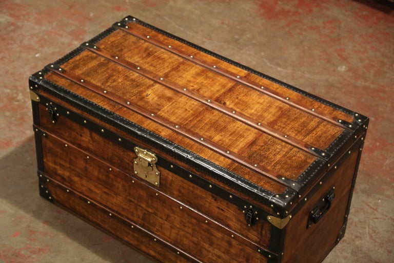 19th Century French Poplar, Iron and Brass Trunk Luggage from A. Velay in Paris For Sale 6