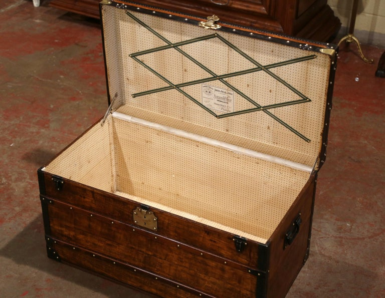 19th Century French Poplar, Iron and Brass Trunk Luggage from A. Velay in Paris For Sale 7