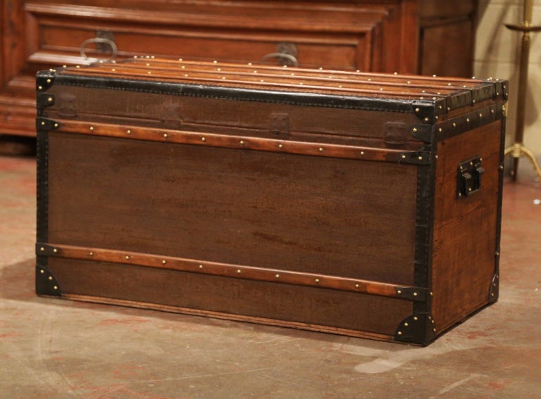19th Century French Poplar, Iron and Brass Trunk Luggage from A. Velay in Paris For Sale 8