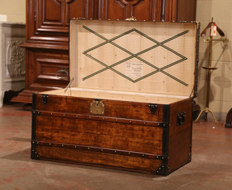 Hand-Crafted 19th Century French Poplar, Iron and Brass Trunk Luggage from A. Velay in Paris For Sale