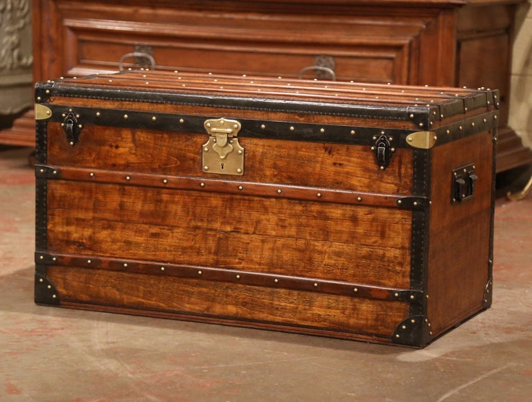 19th Century French Poplar, Iron and Brass Trunk Luggage from A. Velay in Paris For Sale 2