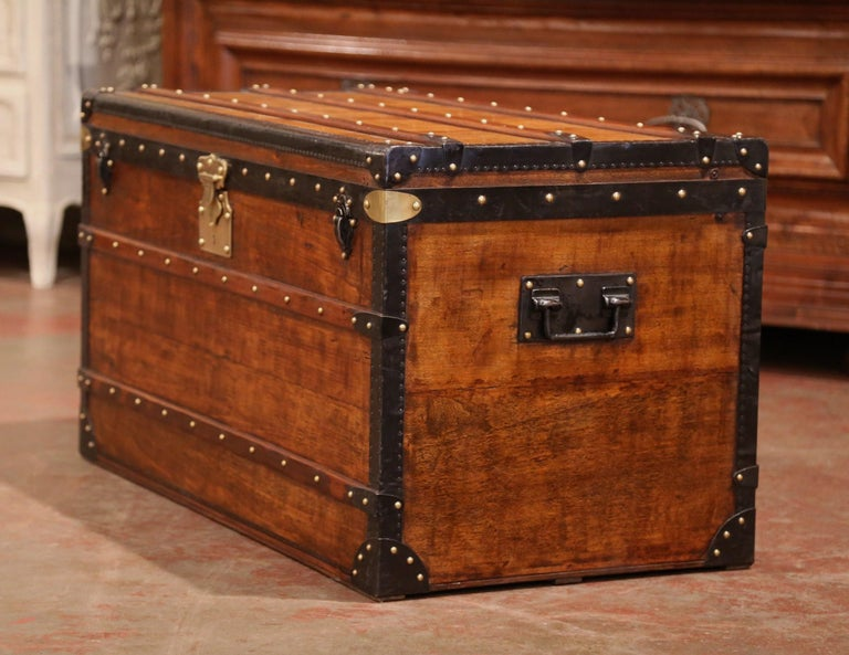 19th Century French Poplar, Iron and Brass Trunk Luggage from A. Velay in Paris For Sale 3
