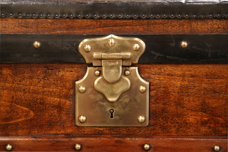 19th Century French Poplar, Iron and Brass Trunk Luggage from A. Velay in Paris For Sale 4