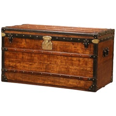 19th Century French Poplar, Iron and Brass Trunk Luggage from A. Velay in Paris