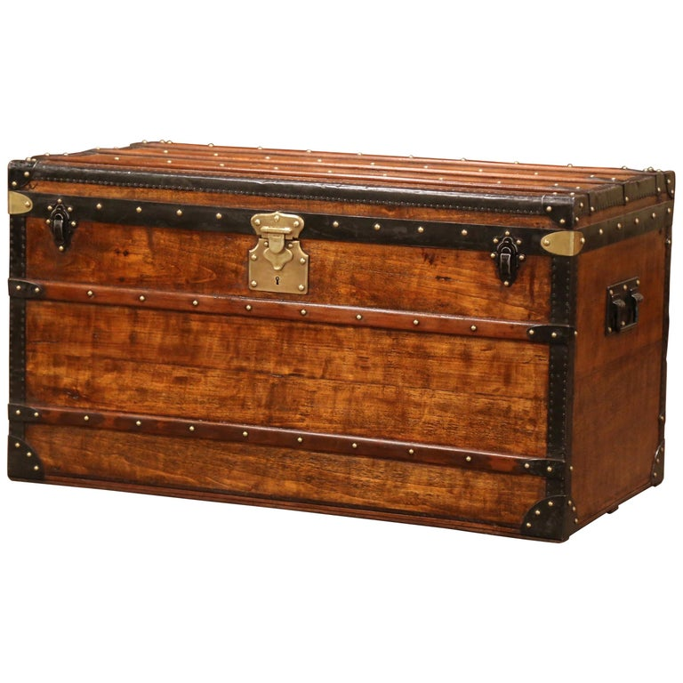 19th Century French Poplar, Iron and Brass Trunk Luggage from A. Velay in Paris For Sale