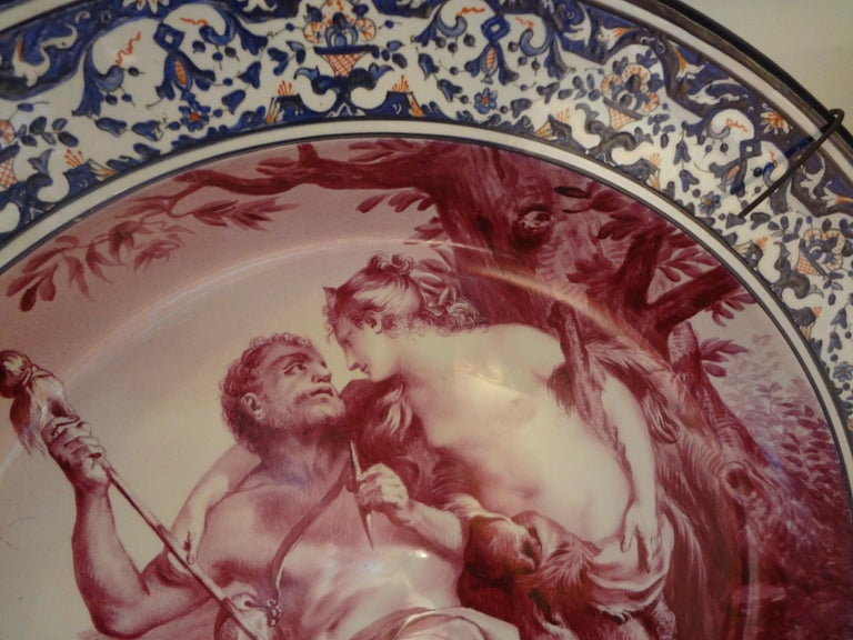 19th Century French Porcelain Allegorical Charger For Sale 2