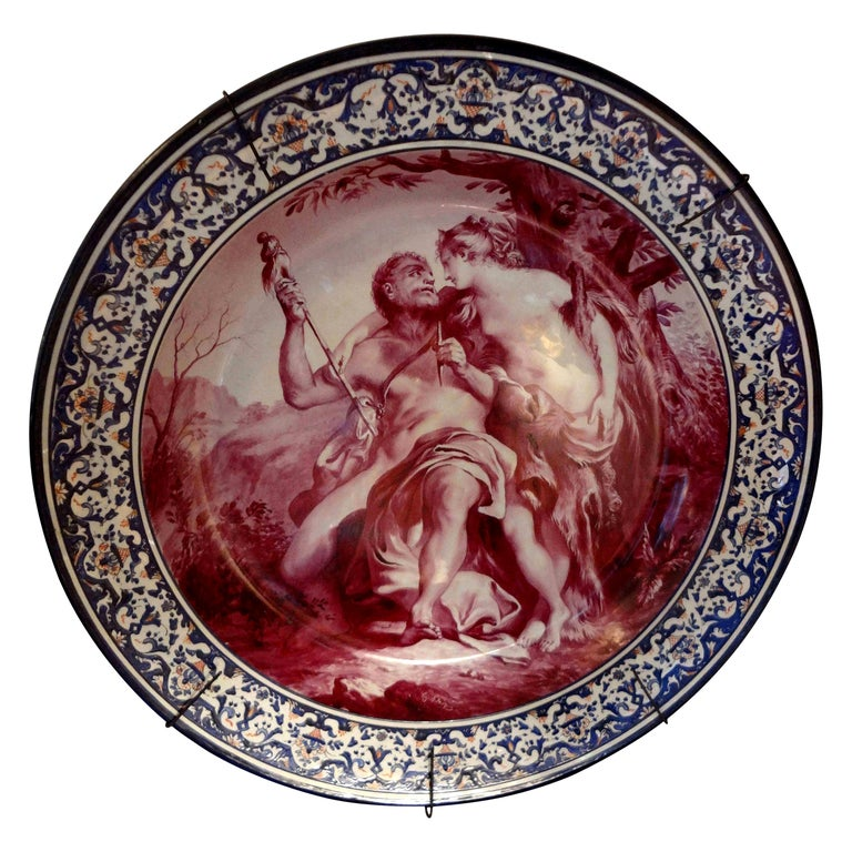 19th Century French Porcelain Allegorical Charger For Sale
