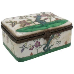 19th Century French Porcelain and Brass Trinket Box with Flower Decorations