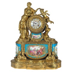 19th Century French Porcelain and Gilt Bronze Figural Mantel Clock