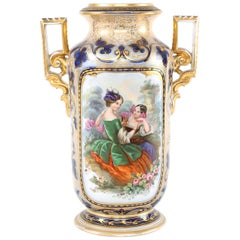 French Porcelain Decorative Vase  / Side Handles