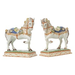 19th Century French Porcelain Horse Sculptures. Hand Painted Great Detail, Pair