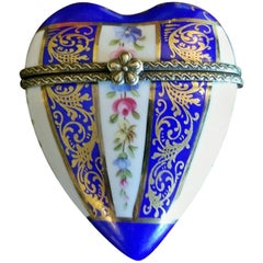 19th Century French Porcelain Limoges Heart Shaped Box
