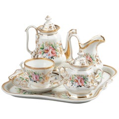 19th Century French Porcelain Tea Set Hand-Painted, Tea for One