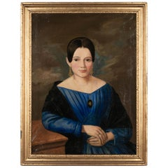 19th Century French Portrait of Young Woman