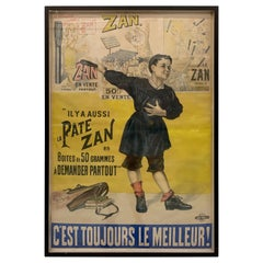 "19th Century French Poster for ""Pate Zan"", Lithograph on Paper"