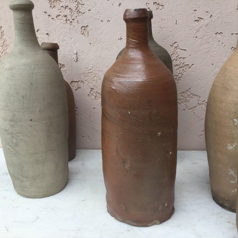 Country 19th Century French Pottery Cider Bottle from Normandy For Sale