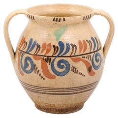 19th Century French Pottery Confit Pot with Cream Glaze, Blue and Brown Motifs