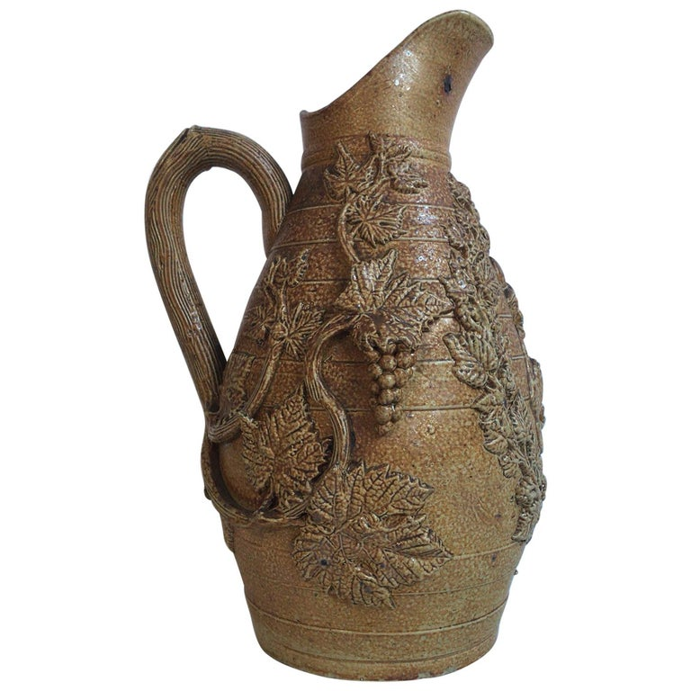 Late 19th Century 19th Century French Pottery Vase with Grapes For Sale