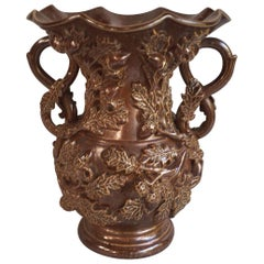 19th Century French Pottery Vase with Grapes