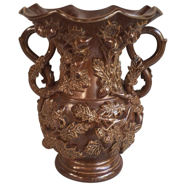 19th Century French Pottery Vase with Grapes For Sale