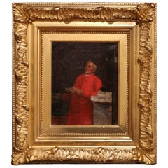 19th Century French Priest Oil on Canvas Painting in Giltwood Frame